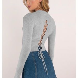 High Neck Lace Up Back Gray Crop Top Sweater